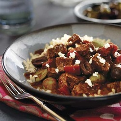 Mediterranean Beef with Mixed Olives & Feta