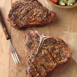 Greek-Seasoned T-Bone with Cucumber & Tomato Salad